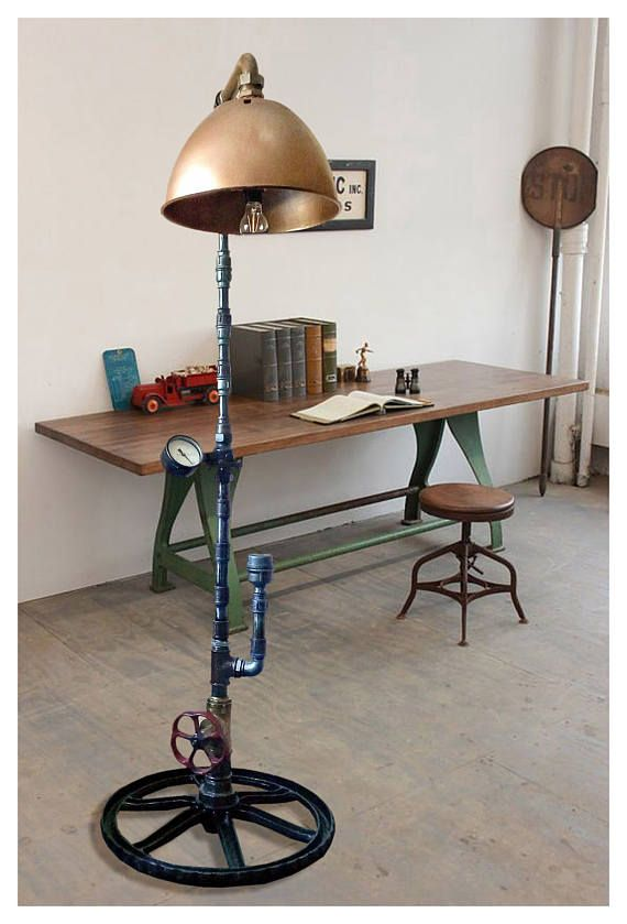 Industrial floor lamp Steampunk floor lamp Industrial ...