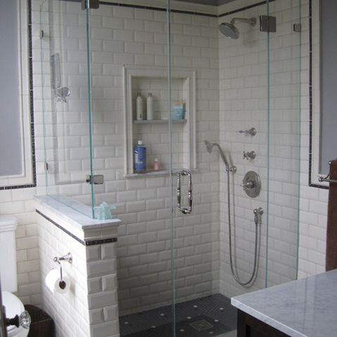 White Subway Tile Shower Design Ideas Pictures Remodel