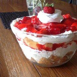 "Strawberry Angel Food Dessert - 10"" angel food cake, 2 x 8 oz cream cheese, 1 c sugar, 8 oz frozen whipped topping, 1 at fresh strawberries, 18 oz strawberry glaze."