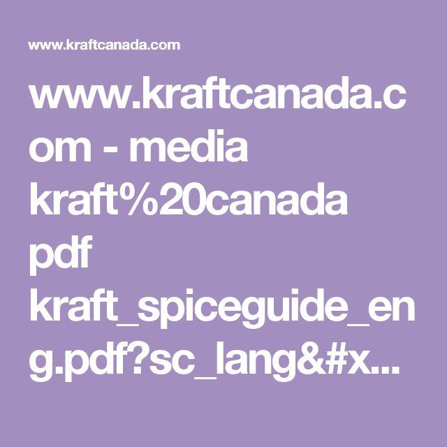 www.kraftcanada.com - media kraft%20canada pdf kraft_spiceguide_eng.pdf?sc_lang=en&cm_mmc=eml-_-mwbcaen-_-20170126-_-2031&cm_lm=315D5537841CB5CA3986337962842C26&utm_source=MWB&utm_medium=Email&utm_content=20170126_EN_GEN&utm_campaign=Winback