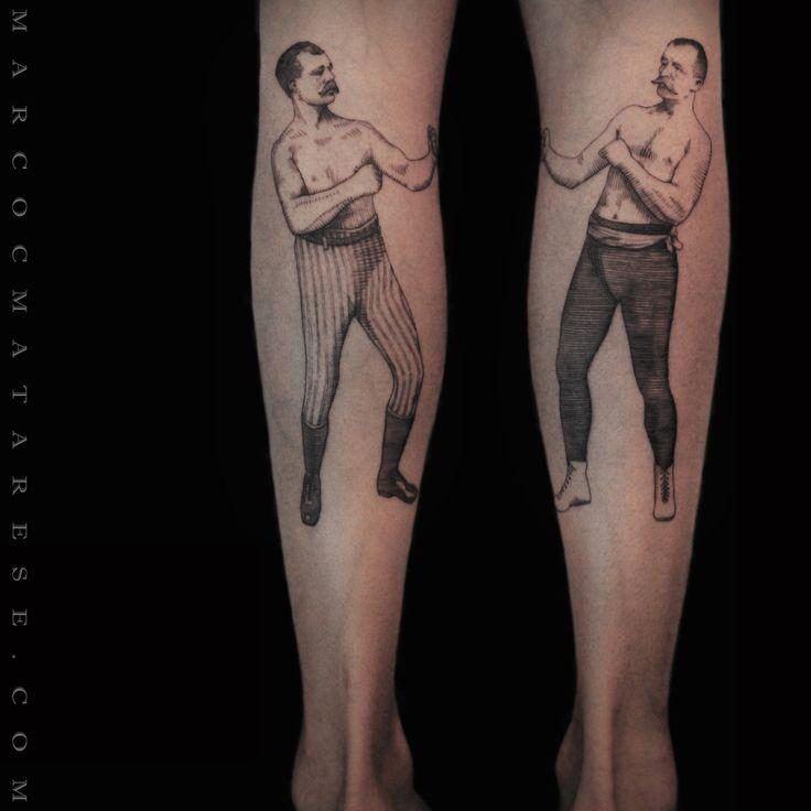 Boxers etching / engraving tattoo style Marco C. Matarese Milan