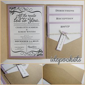 Kraft Wedding Invitations DIY Pocketfold Envelopes BOX Vintage Brown Invite C | eBay