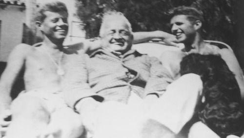 "c1942. John Kennedy, John ""Honey Fitz"" Fitgerald and Joseph Kennedy Jr. Palm Beach."