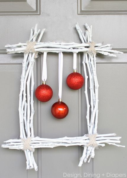 Winter Twig Wreath by Design, Dining + Diapers, diy wreath, white wreath, christmas wreath, red and white, square wreaths, ornaments on wreaths