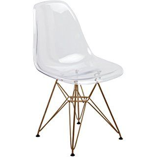 Design Guild Banks Clear Chair with Gold Legs