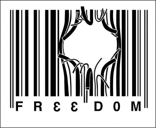 Freedom escaping the bar code prison of conformity pop art graphic