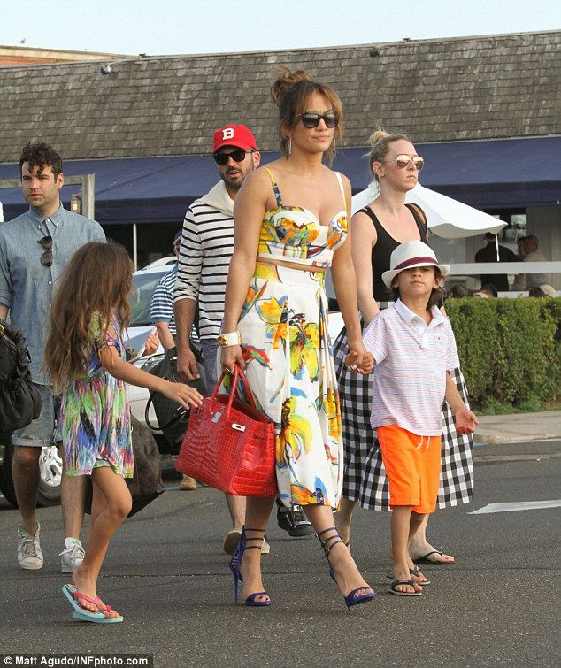 Kid-friendly: Jennifer brought along her twins, Emme and Max, to the boat party