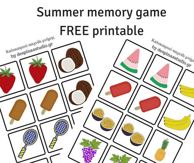 Καλοκαιρινό παιχνίδι μνήμης ΔΩΡΕΑΝ εκτυπώσιμο Summer memory game FREE printable