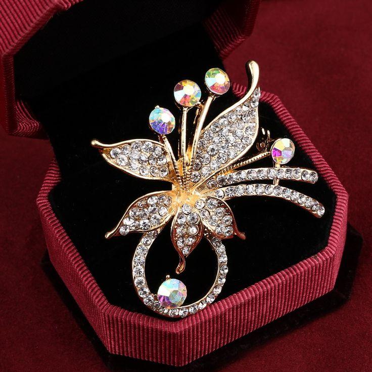 SODIAL(R) New Opal Rhinestone Brooches For Women Vintage Fashion Female Jewelry Gilded Opal Flower Brooch Brooches Pins o9AcTq3Q