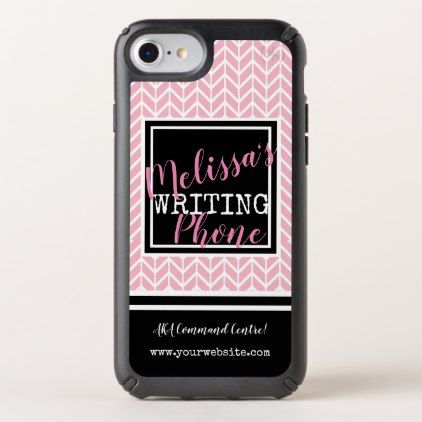 Pink white & Black Custom Chevron Business Name Speck iPhone Case - monogram gifts unique design style monogrammed diy cyo customize