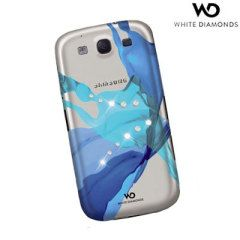 Geef uw Samsung Galaxy S3 extra klasse en stijl met deze witte diamanten case met blauwe design.