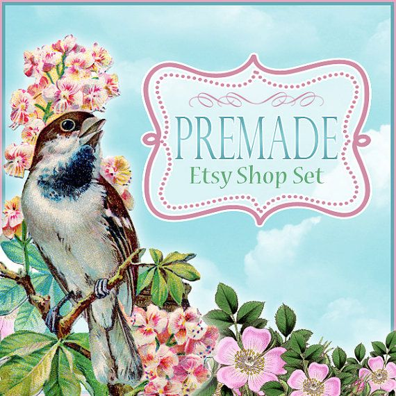 Premade Etsy Shop Banner Set  Sparrow and Flowers by CandyGraphics, $10.00