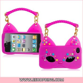 Fox Mask & Handbag Shaped Silicone Protective Case for iphone 4S 4 Rose Red