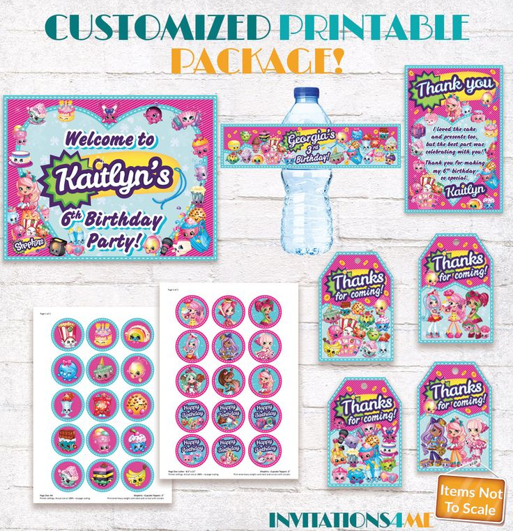 Shopkins Party Package Printable Decorations Shopkins Sign Favour Tags Thank you Card Cupcake Toppers Customized - Invitation Available by INVITATIONS4ME on Etsy