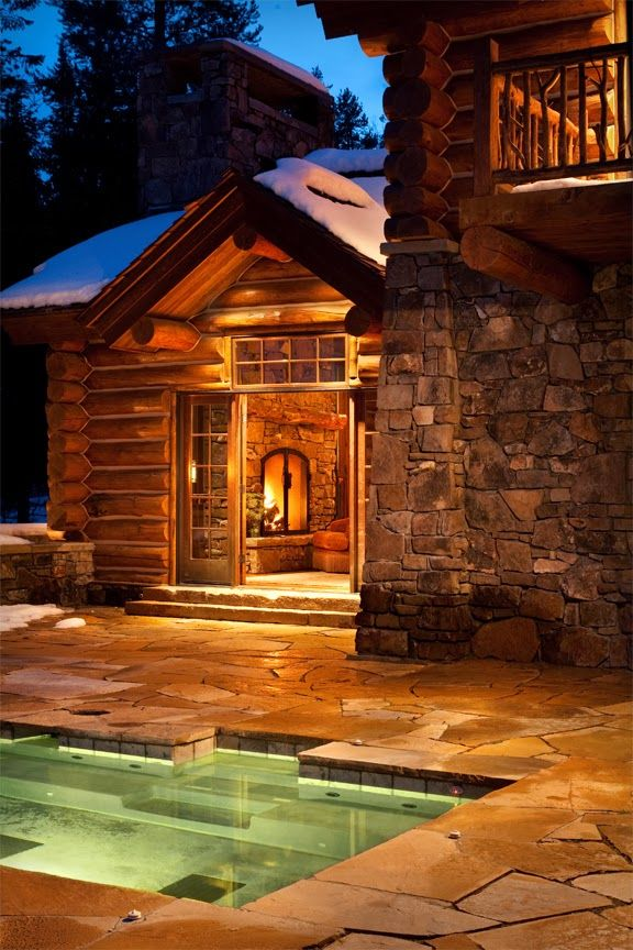 cabin with fire and water; dustjacket attic: Destinations | A Luxury Lodge In Wyoming