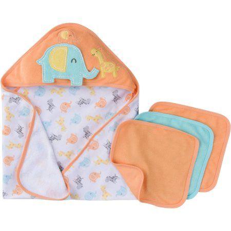 Gerber Newborn Baby Unisex Towel and Washcloths Bath Gift Set, 4-Piece