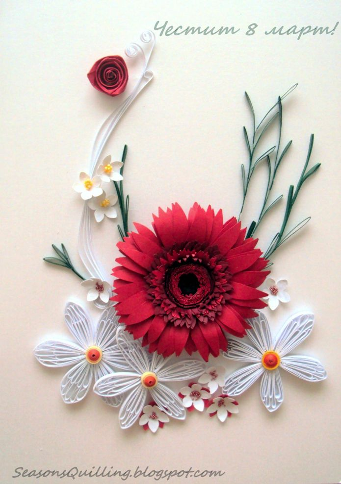 A quilled floral piece - by: Maria Cvetanova, as shown here - https://www.facebook.com/groups/465489980153195/permalink/499896940045832/