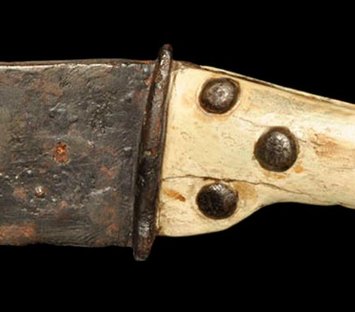Pre-Viking Scandinavian Knife with Bone Handle, 3rd -5th Century ADThe blade and curved profile are found on Iron Age knives from the Danish bog deposits, especially Vimose and Kragehul. The T-shaped pommel is remarkable, and replicates forms of...