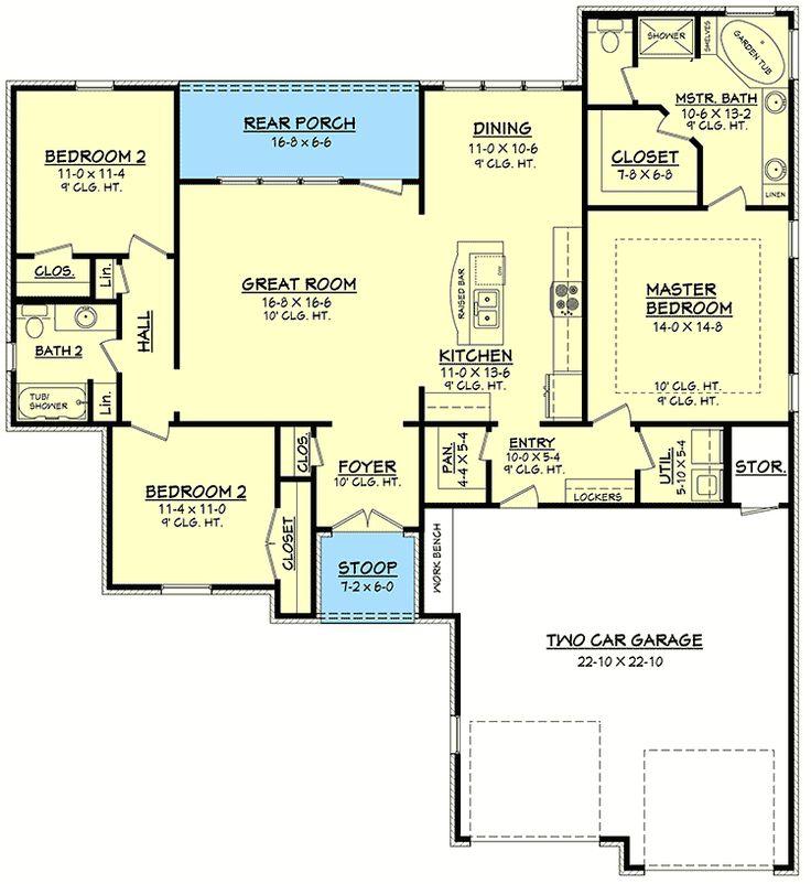 Large And Open Floor Plan 11765HZ 1st Floor Master Suite Butler
