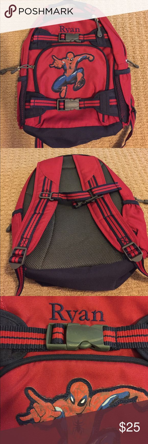 """EUC Pottery Barn Kids Small Backpack Looks virtually like new! Small-size PBK (see photo with sizing info) Red & Navy Spider-Man backpack. Embroidered with name """"Ryan"""". Noticed slight water-marking on back, but it's barely noticeable. No other signs of visible wear! pottery barn kids Other"""