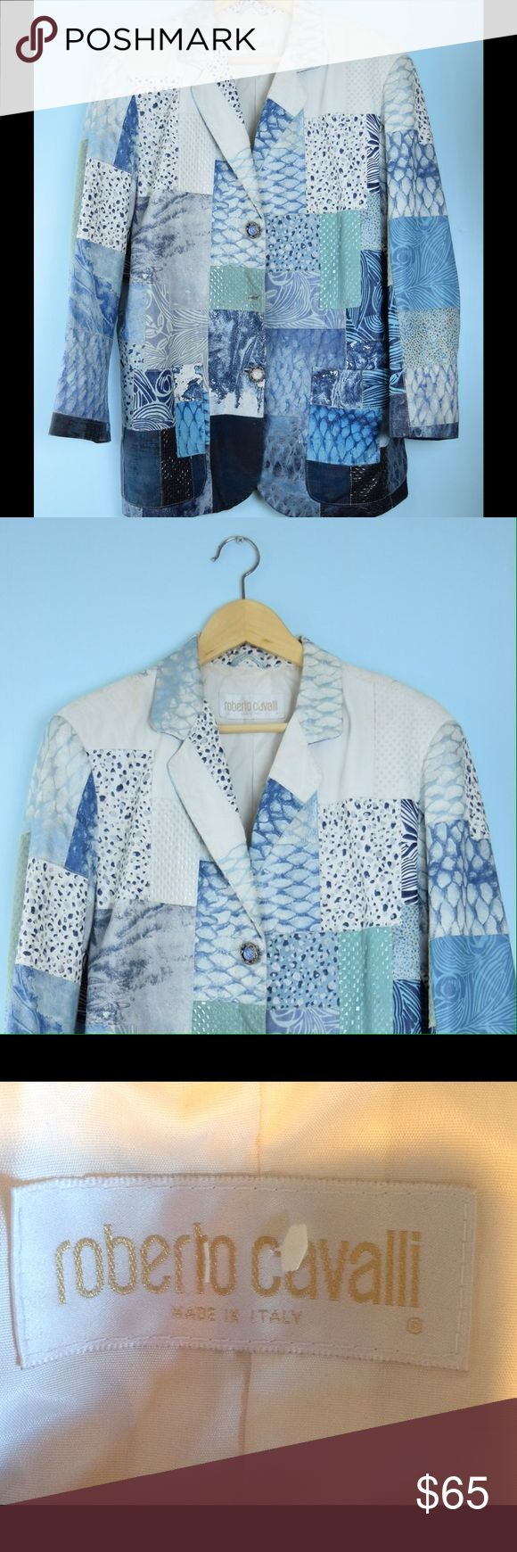 ROBERTO CAVALLI blue white leather jacket XS ROBERTO CAVALLI blue white leather jacket XS, 100% leather, lined, no care label, dry clean ( needs a clean) one button missing, length 30 inches, bust 40 inches Roberto Cavalli Jackets & Coats
