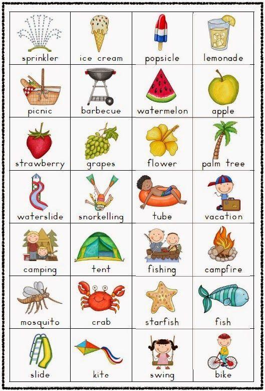 Summer Vocabulary Chart Freebie: