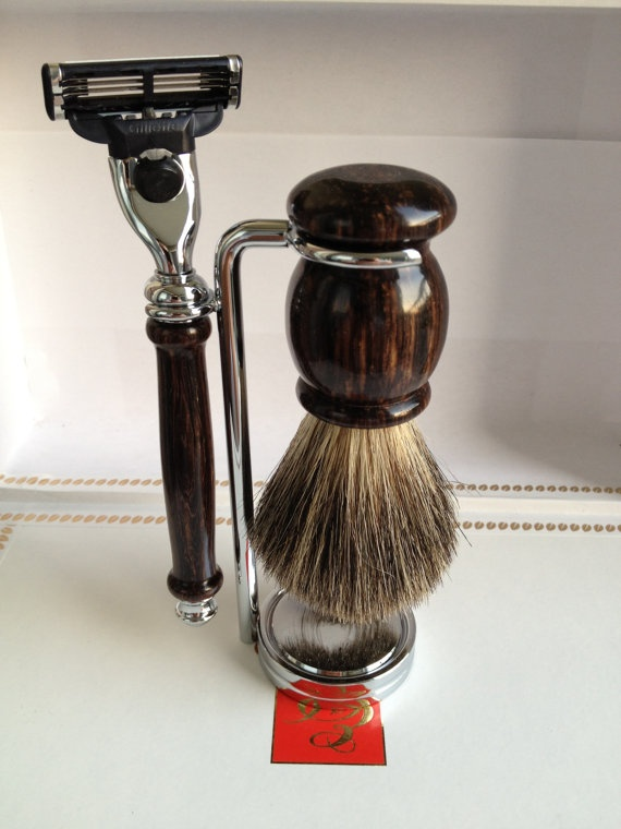 Classic Shaving Set - Burmese Blackwood... Sorry, this item SOLD OUT. But if you really like it, and want to get something comparable for your man, we found a popular men's luxury shave set for only $26.99 at http://giftideasformen.professorsopportunities.com/van-der-hagen-mens-luxury-shave-set/ ( razor not included ).