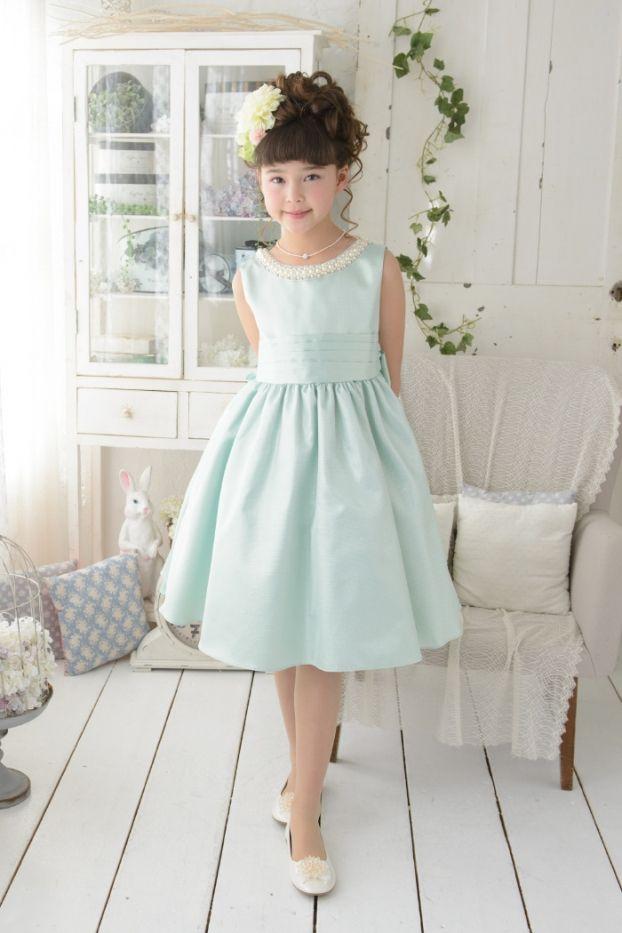 子供ドレス ピアノ発表会ドレス 1-325(110cm)セージ