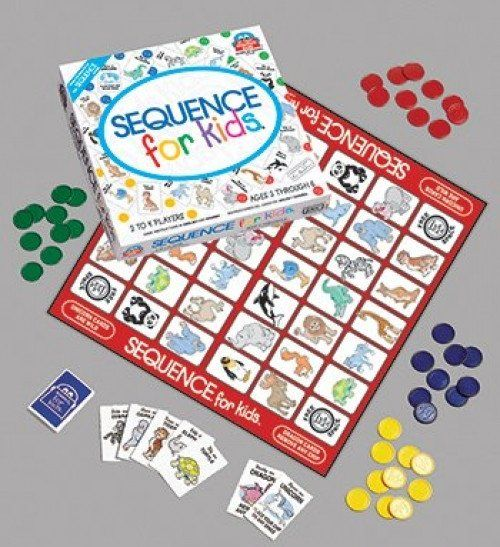 VENTURA GAMES  Sequence for Kids  Play a card from you hand, place your chip on a corresponding character on the board.  When you have 4 in a row, SEQUENCE!  AGE:   7+ #toys2learn #educationalgames #familyfun #venturagames #earlylearning