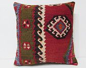 kilim pillow 18x18 red pillow cover red pillow case red pillow sham red throw pillow red decorative pillow red cushion cover red rugs 22633