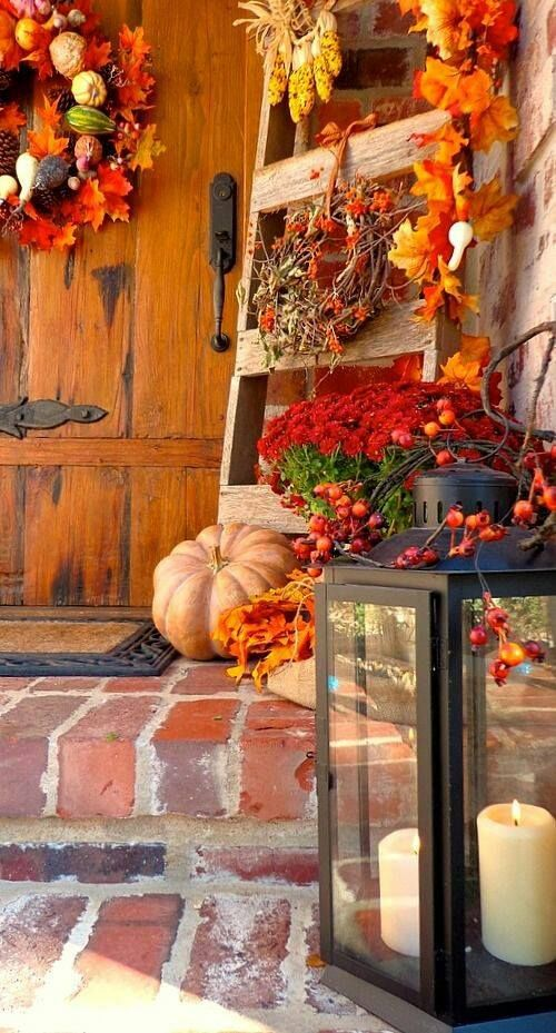 Gorgeous entry way with all the Fall decorations.                              …                                                                                                                                                                                 More