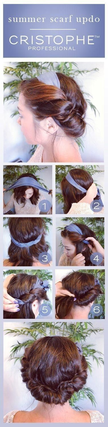 Summer Scarf Updo | Using a stretchy headband, you just take large sections of hair and wrap around the band, tucking in the loose strands.