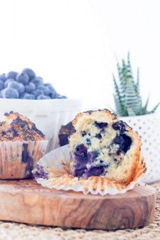 Muffin aux bleuets, citron et graines de pavot