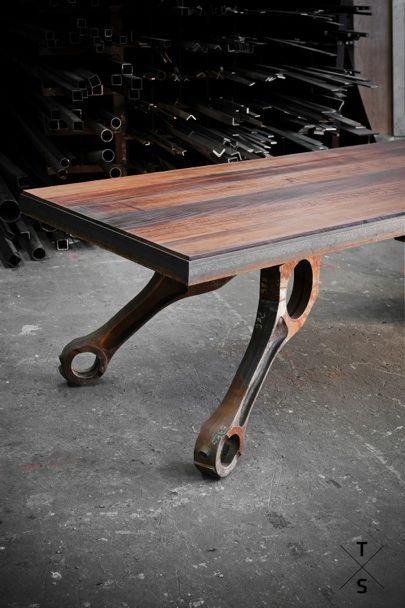 """Another Dutch product of  """"TableStories"""".  Joram Barbiers is his name > Als specialist in ambachtelijke metaalbewerking heeft Barbiers Originals  alleen maar onderdelen in de tafels verwerkt die een eigen geschiedenis kennen. Zo herleef je oude tijden aan je eigen tafel."""