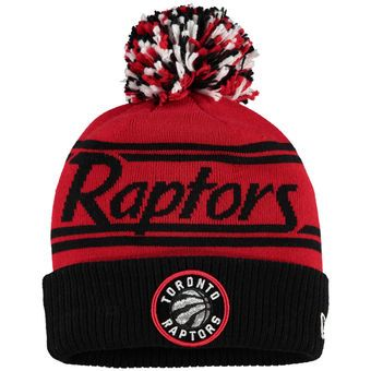 New Era Toronto Raptors Black Fire Cuffed Knit Hat with Pom