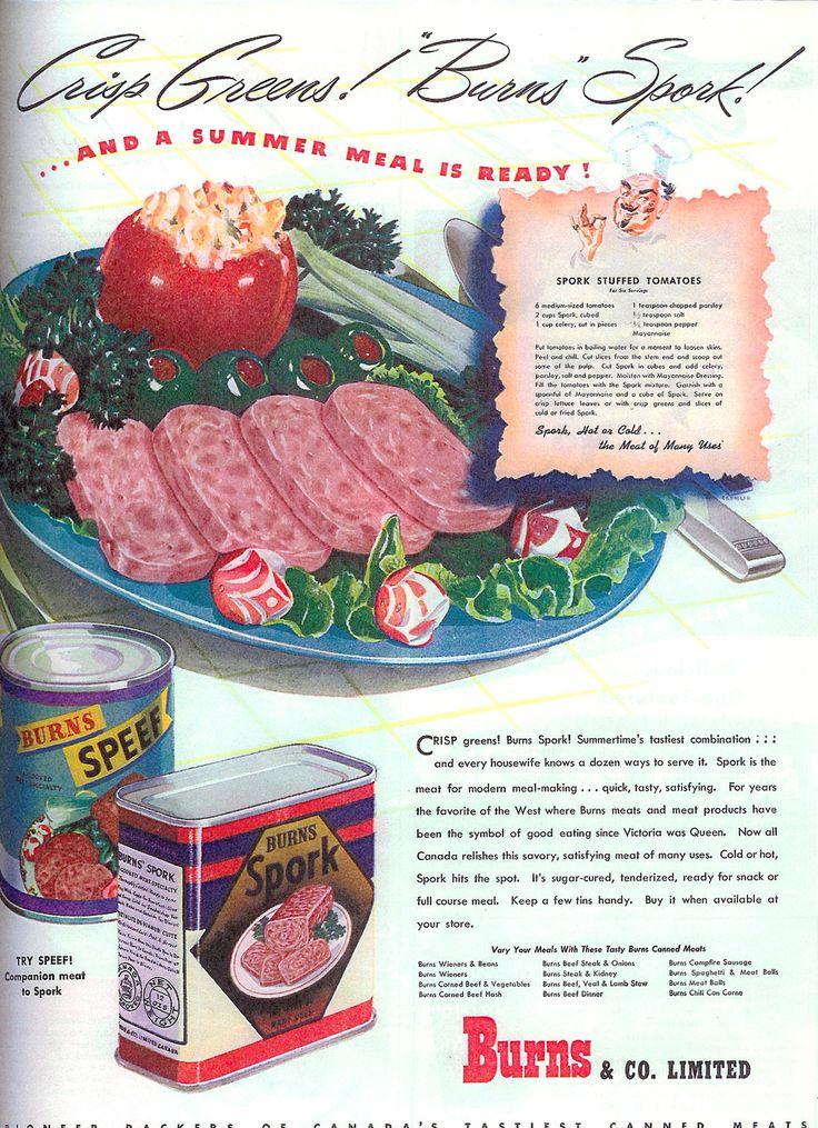 Burns' SporkAdvertis Graphics, Advertis Rules, Food Ads, Fun Stuff, Companion Meeting, Spork, Vintage Recipe, Food Recipe, Recipe Stuff
