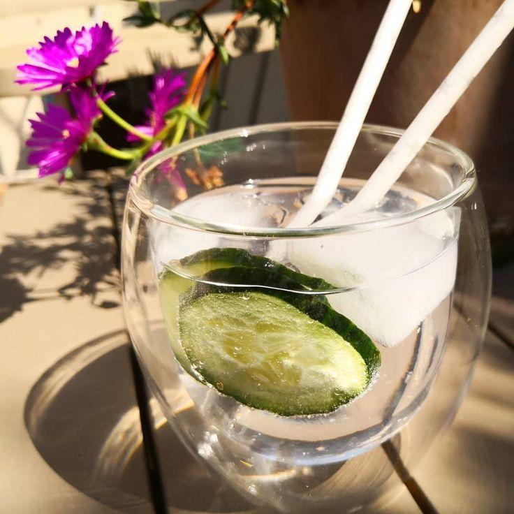 Die erste ginvolle Idee heute! 😁  Gin Tonic mit Gurke und dazu ein griechisch…