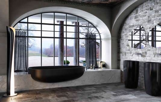 Minimalist And Elegant Modern Bathtub Design By Danelon And Meroni : Cool Minimalist Black Modern Bathtub Design In Front Of Floor To Ceiling Bathroom Curve Windows With Lovely Nature Views And Black Pedestral Sink In Slate Tile Bathroom