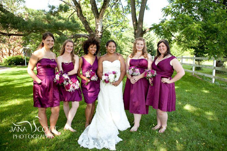 Begonia colored bridesmaids dresses