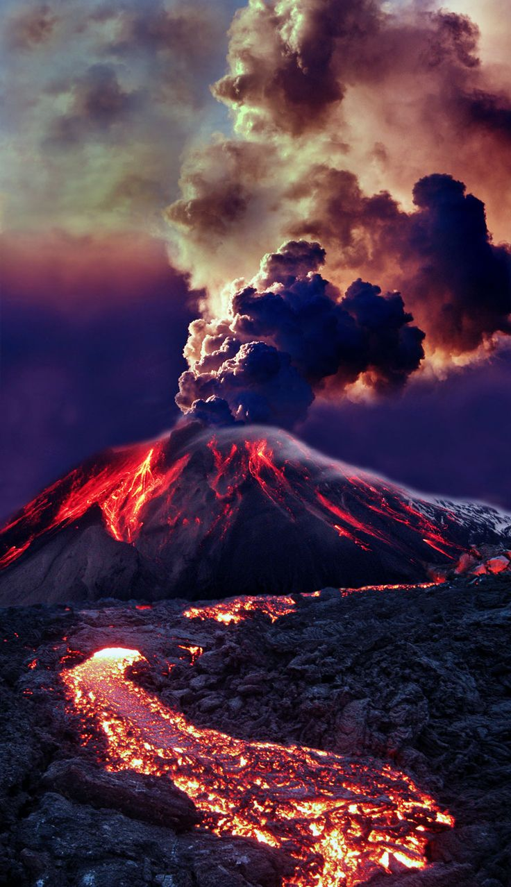 volcano... awesome photo, lava, smoke, clouds, steam, powerful, wild, Mother Nature, breathtaking, panorama, beautiful, photo.