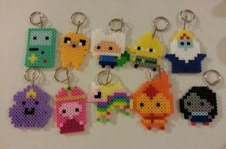 Adventure Time Perler Keyrings by CraftinNerdy on deviantART