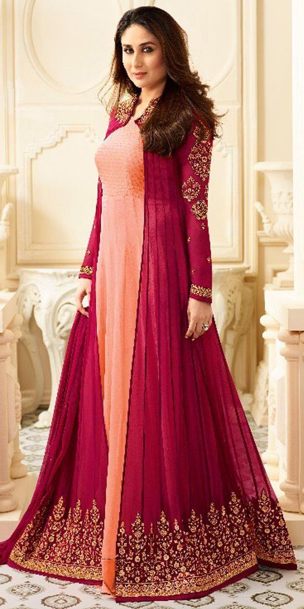 Pink Georgette Anarkali Suit.