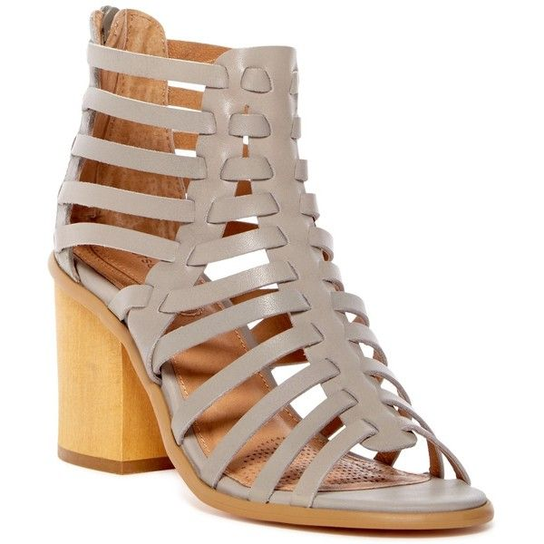 Corso Como Skye Strappy Sandal ($52) ❤ liked on Polyvore featuring shoes, sandals, grey, grey strappy sandals, leather shoes, open toe sandals, strappy leather sandals and strappy block heel sandals