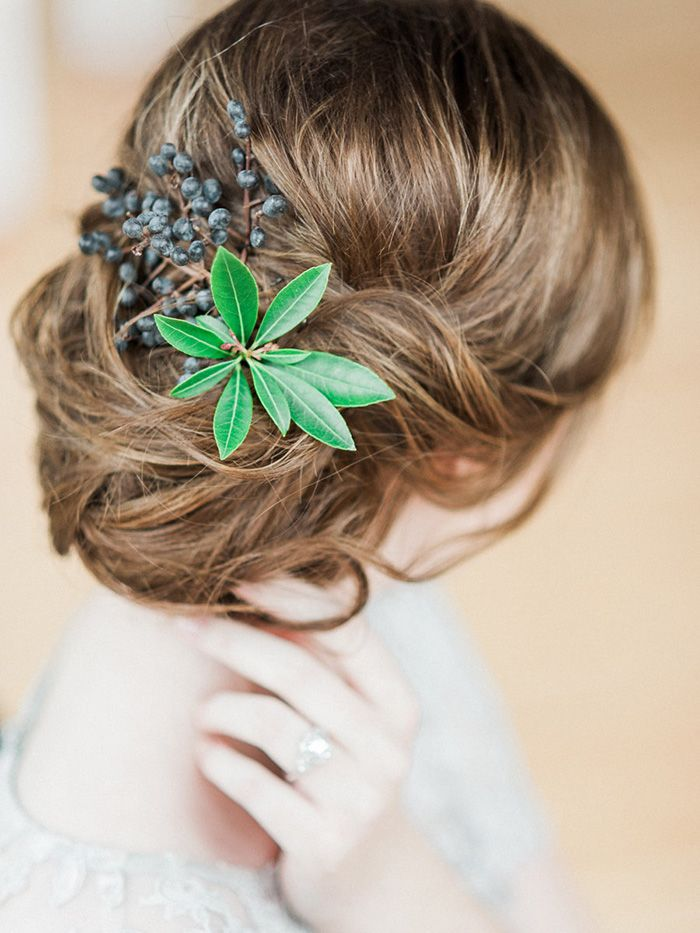 Loose Chignon with Greenery and Berries