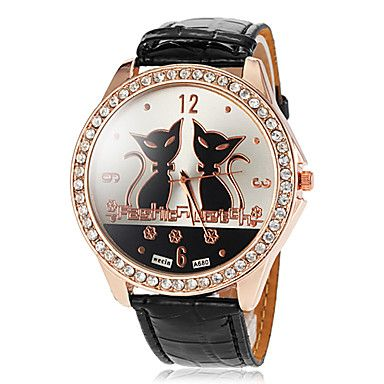 Women's+Big+Round+Diamante+Case+Cat+Pattern+Dial+PU+Band+Quartz+Wrist+Watch+(Assorted+Colors)+Cool+Watches+Unique+Watches+–+GBP+£+5.59