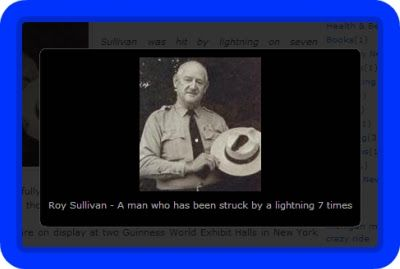 "About Roy Sullivan : ""Roy Cleveland Sullivan (February 7, 1912 – September 28, 1983) was a U.S. forest ranger in Shenandoah National Park in Virginia. Sullivan was hit by lightning on seven different occasions and survived all of them. In his lifetime he gained ""Human Lightning Rod"" as a nickname…"" (Shock4All.com)"