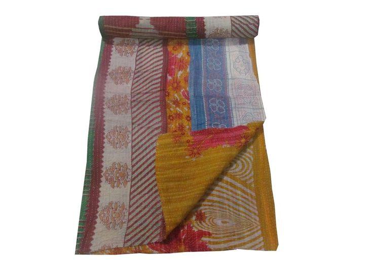 INDIAN HANDMADE KANTHA REVERSIBLE QUILT GUDARI THROW BLANKET FOR HOME DECORATIVE #LuckyHandicraft #Traditional