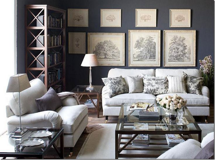 In This Space Gray Creates A Statement Wall And Focal Point An Otherwise Monochromatic Neutral Room I Love How The Designer Used White Antique