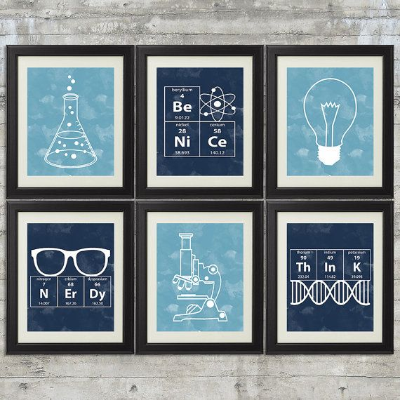 Nerdy Science Art  -  set of 6- 8x10 Prints with Erlenmeyer Flask, DNA, Elements for science themed bedroom or nursery