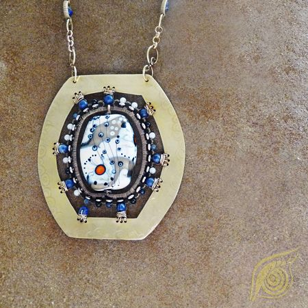 necklace Touch of winter; brass, czech lampwork, lapis lazuli, sodalite, coral, onyx; partly patinated, wire-wrapping; by Nady (http://www.nady.cz/nahrdelniky/nahrdelnik-dotek-zimy-178/)
